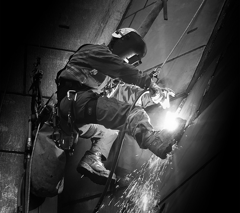 Rope access tech welding